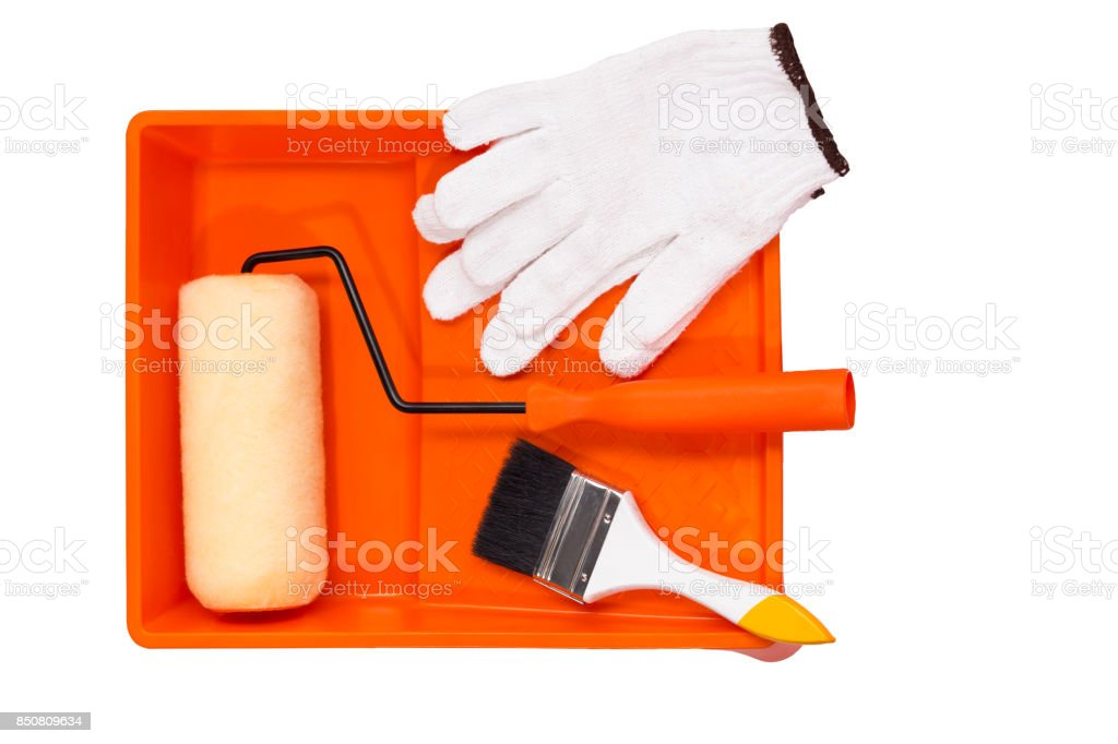 painting roller tools stock photo