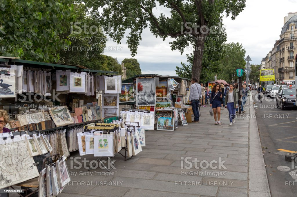 Painting Stalls at River Seine, Paris royalty-free stock photo