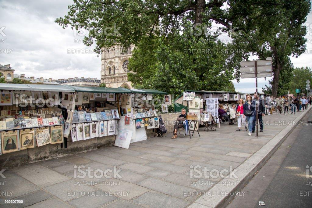 Painting Stalls at River Seine, Paris royalty-free stock photo