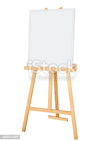 istock Painting stand wooden easel with blank canvas poster signboard 509544982
