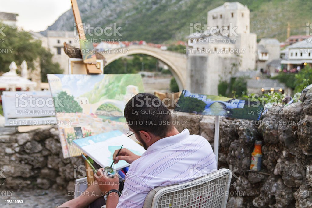 Painting Stari Most royalty-free stock photo