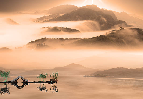 painting style of china landscape - non urban scene stock photos and pictures