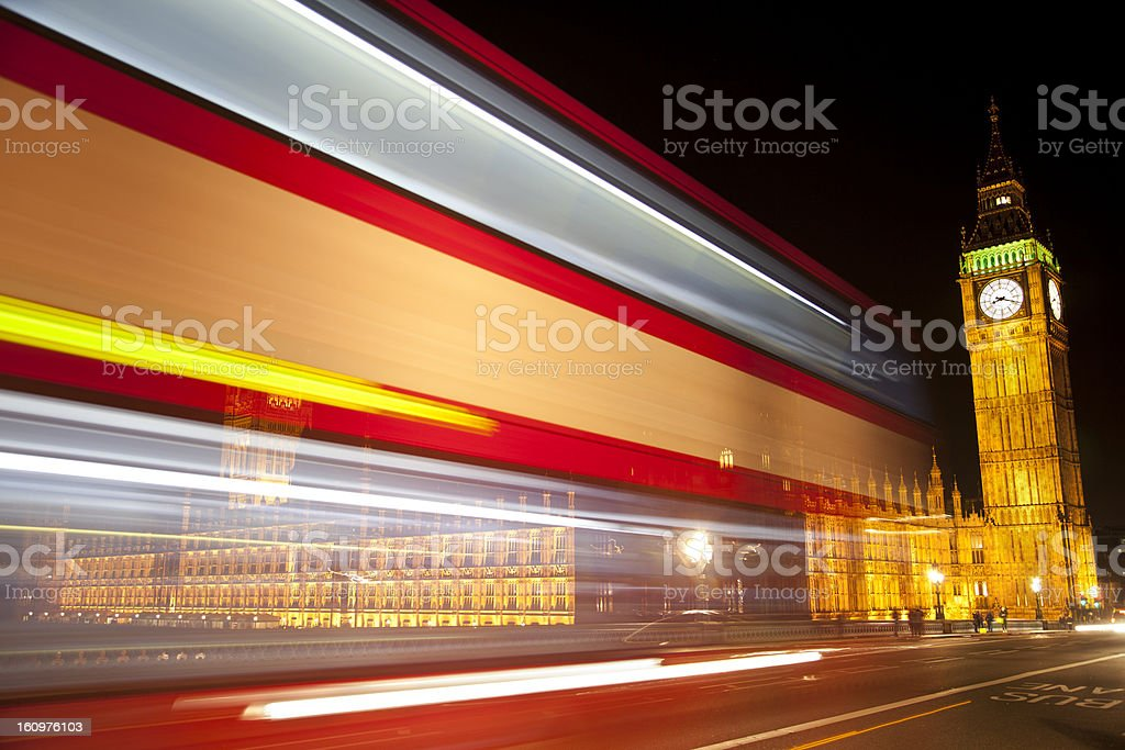 Painting the Big Ben with lights royalty-free stock photo