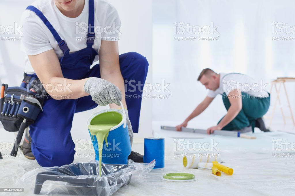 Painting the walls stock photo