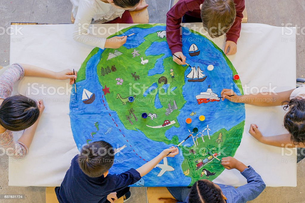 Painting the World Together stock photo