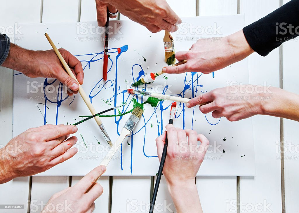 Painting Together stock photo