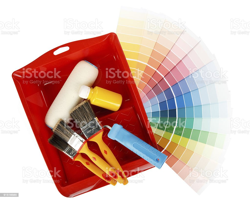 Painting tools and color guide royalty-free stock photo