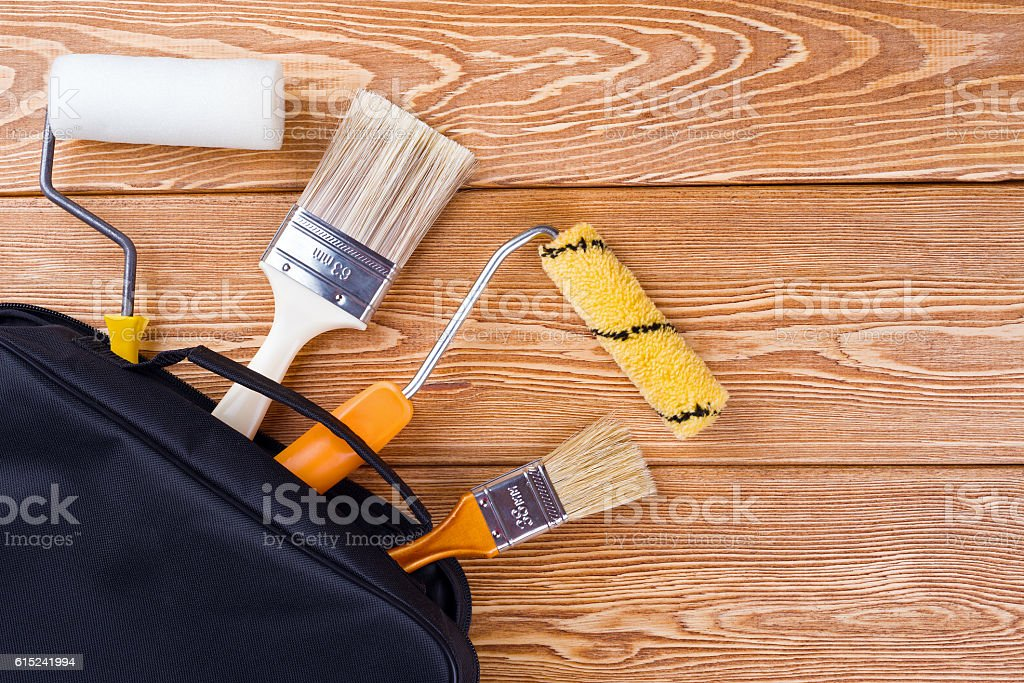 Painting tools in a bag stock photo