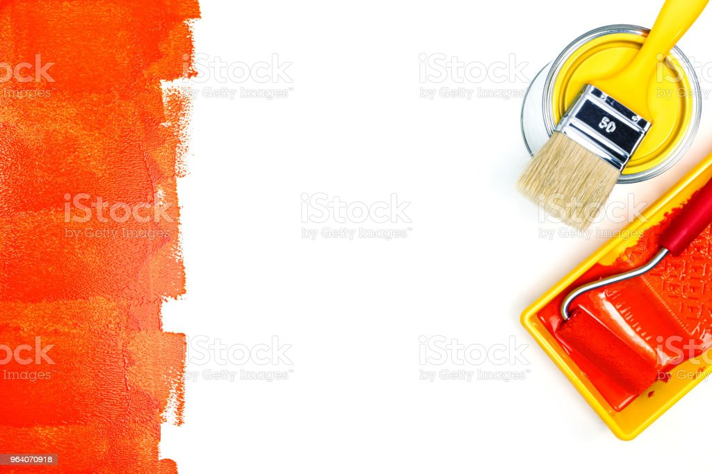 painting tools on white background. paint tray, paint can and paintbrush - Royalty-free Apartment Stock Photo
