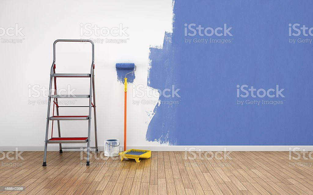 Painting walls of an empty room