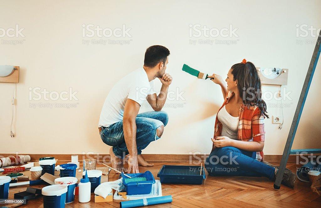 Painting walls. stock photo
