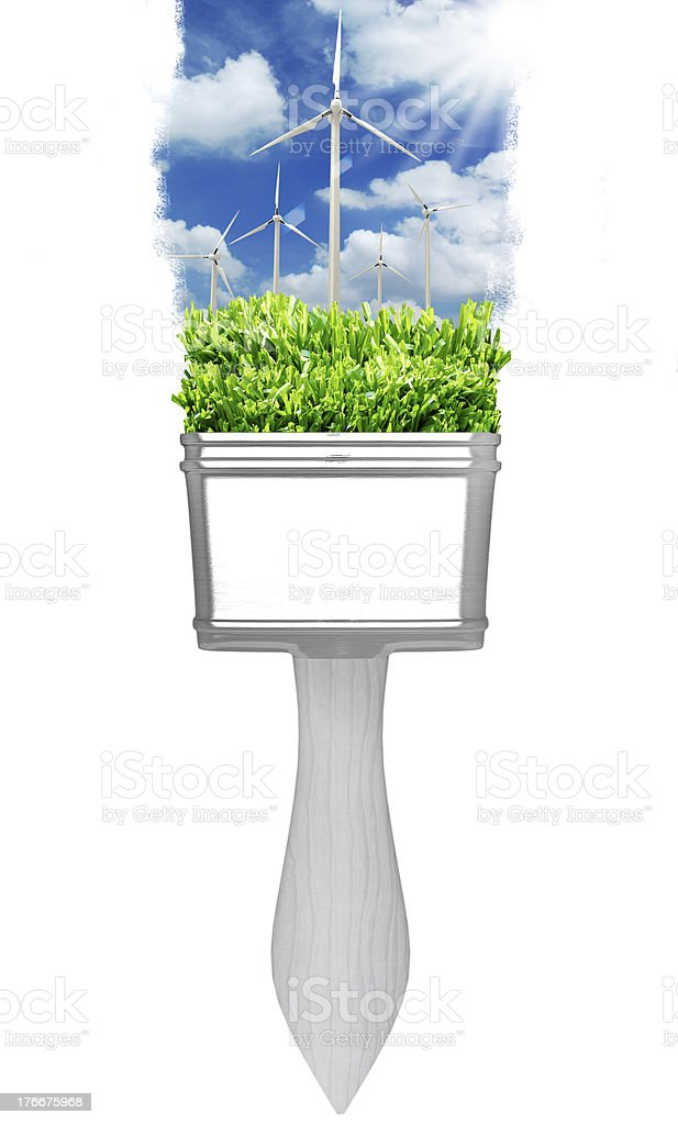 painting windmill landscape with brushes royalty-free stock photo