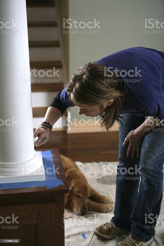 Painting with Dog Helper royalty-free stock photo
