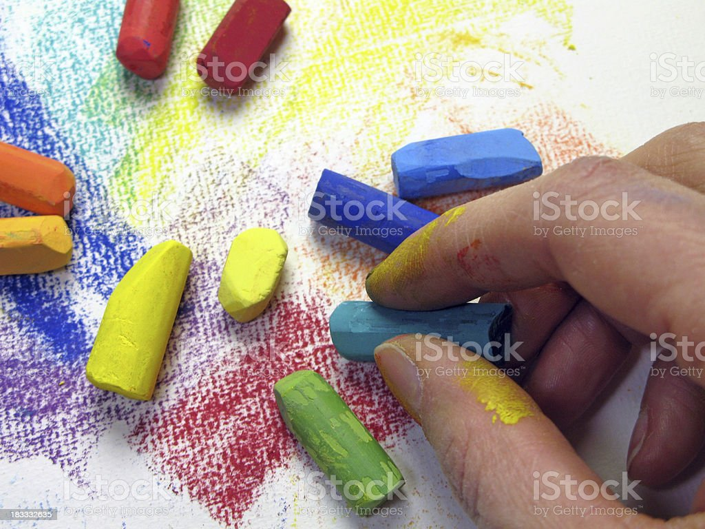 Painting with pastel chalks royalty-free stock photo