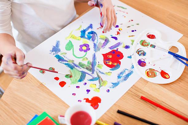 painting with watercolors - tempera resim stok fotoğraflar ve resimler