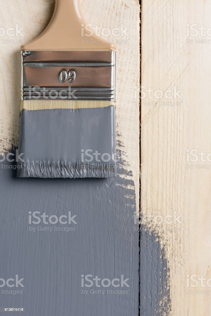 Painting wooden table stock photo