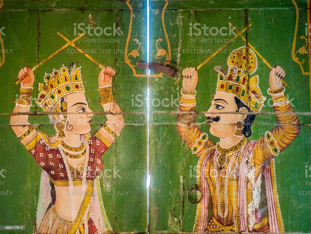 Paintings in Jain temple Bhandreshwar Bikaner India stock photo