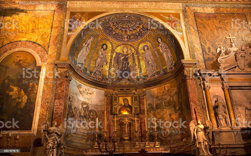 Pinturas mosaico Altar grande Santa Francesca Romana Basílica Foru - foto de acervo