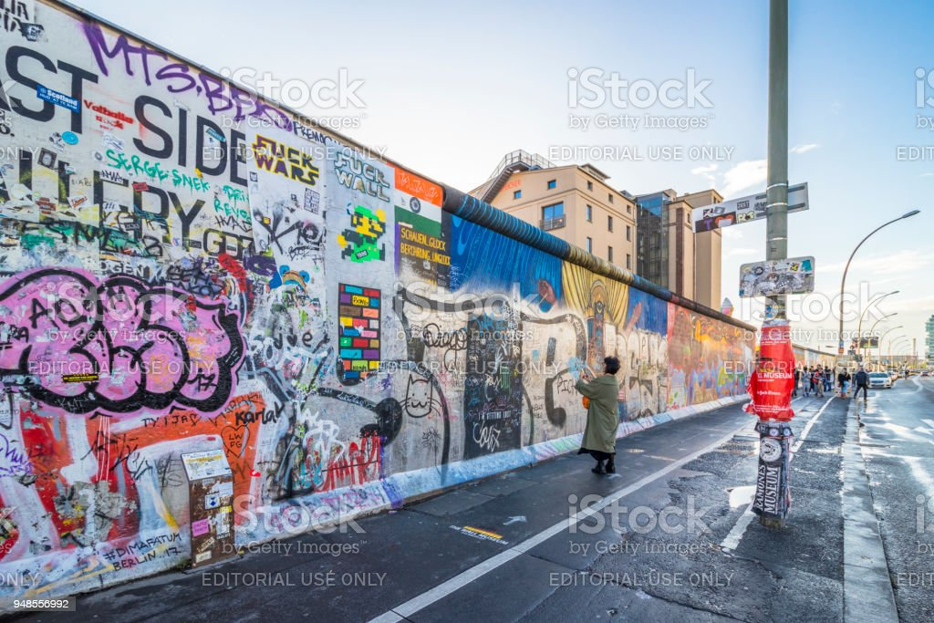 Paintings on East Side Gallery, international memorial for freedom. stock photo