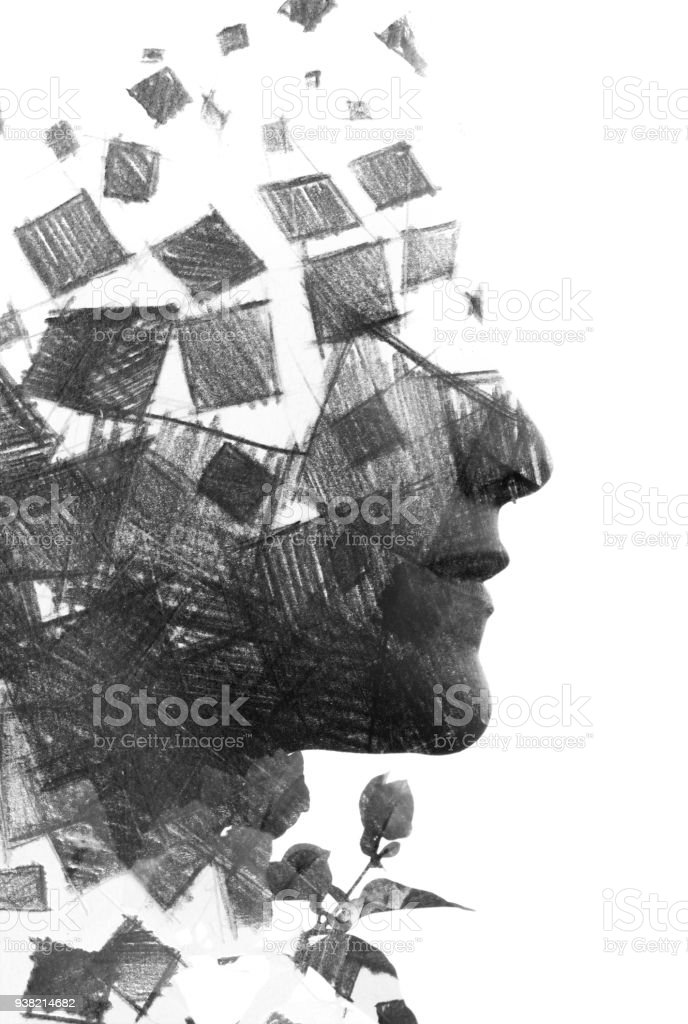 Paintography. Double Exposure charcoal drawing combined with portrait of a woman with strong features and expression, black and white stock photo