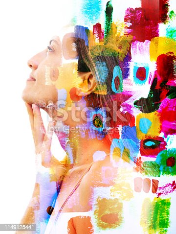 istock Paintography. Double exposure. Close up of a strong attractive model combined with colorful hand drawn acryllic paintings with overlapping brushstrokes resembling boxes or compartments 1149125441