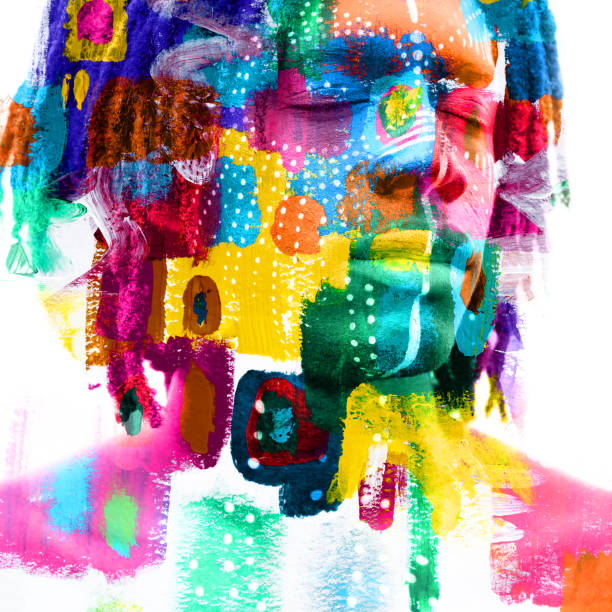 Paintography. Double exposure of a dark skinned male model with closed eyes and dreadlocks combined with colorful hand drawn paintings stock photo