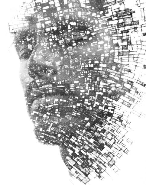Paintography. Double exposure of an attractive male model with closed eyes combined with hand drawn paintings with lines resembling building blocks or cells, black and white stock photo