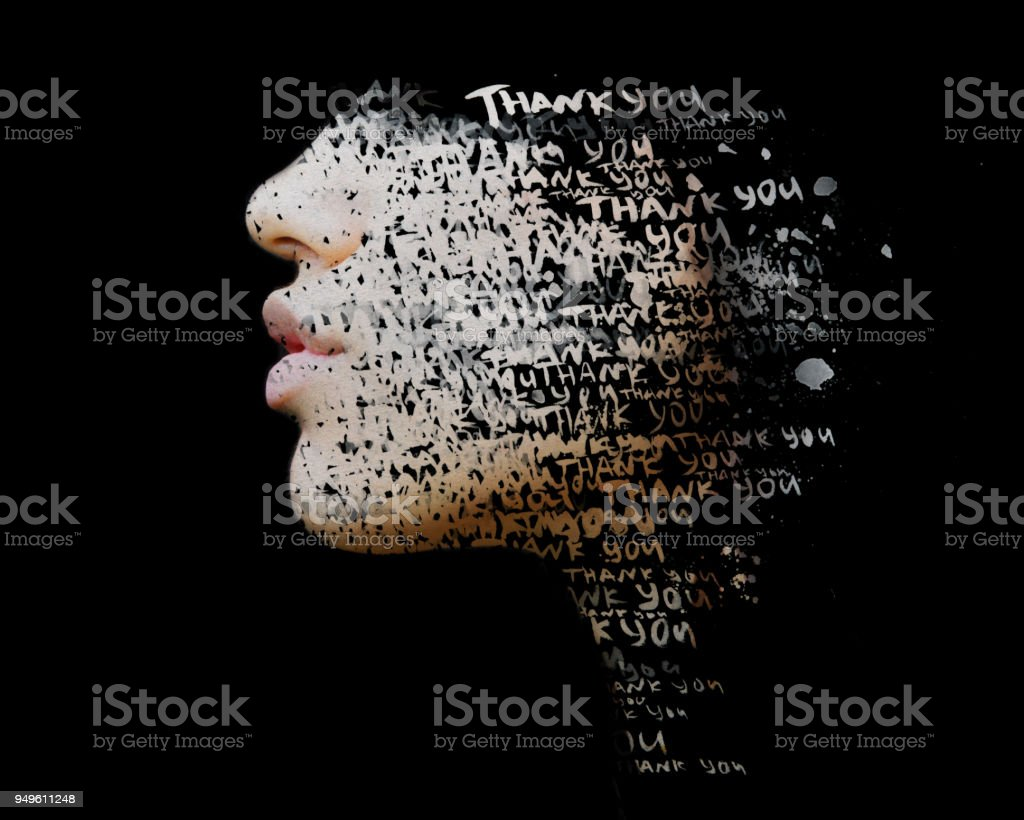 Paintography. Double exposure of hand drawn painting combined with a close up profile portrait with THANK YOU words embedded stock photo