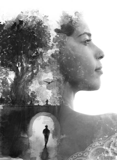 Paintography. Double exposure portrait combined with hand drawn painting of a lonely person under a bridge, tells a story of two people using symbols stock photo