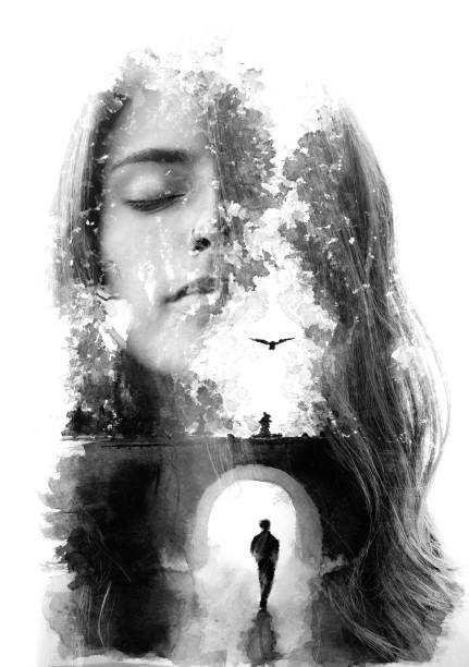 Paintography. Double exposure portrait combined with hand drawn painting tells a story of two people using symbols and unique technique stock photo