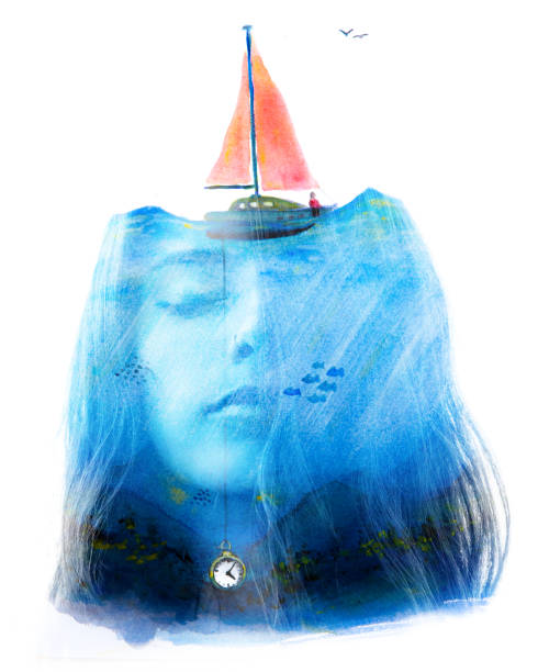 Paintography. Double exposure. Portrait combined with surreal watercolour painting brings imagination and fantasy to a woman's portrait stock photo