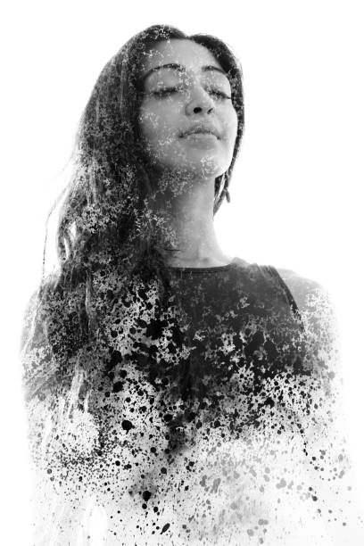 paintography. double exposure portrait of a beautiful ethnic woman combined with hand drawn ink painting. black and white - disintegrate stock pictures, royalty-free photos & images