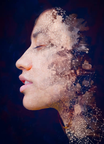 Paintography. Double Exposure portrait of a beautiful exotic woman combined with hand drawn ink painting of symbols and shapes stock photo