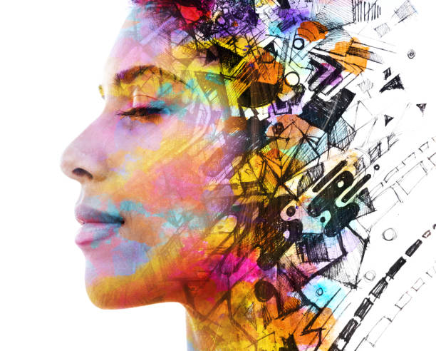 Paintography. Double Exposure portrait of a beautiful exotic woman combined with hand drawn ink painting of symbols and shapes on white background stock photo