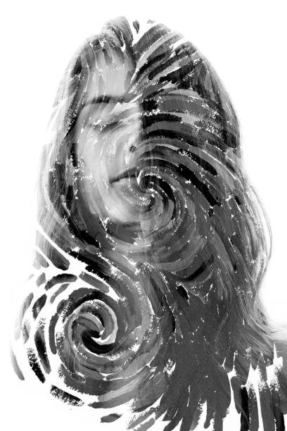 Paintography. Double exposure portrait of a beautiful expressive woman combined with impressionistic style flowing brush strokes which resemble van gogh's technique stock photo