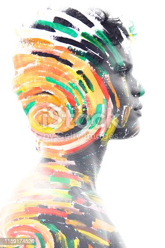 498089686 istock photo Paintography. Double exposure portrait of a confident peaceful male model combined with impressionistic style flowing brush strokes which explode with color and life 1159174526