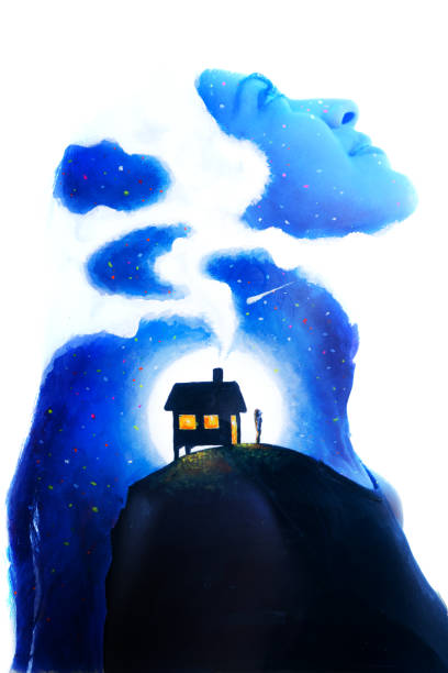 Paintography. Double exposure portrait of a girl gazing upwards combined with watercolour painting of house on a mountain against a full moon full of imagination and fantasy stock photo