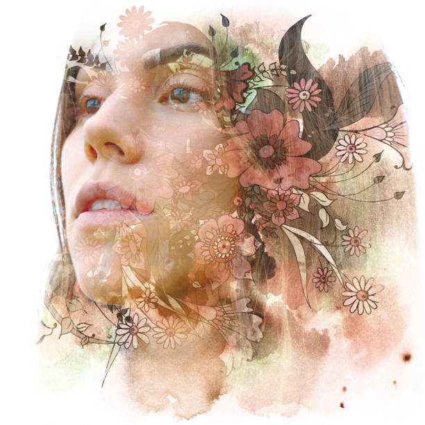 Paintography. Double exposure portrait of a young natural beauty with brown hair, combined with hand drawn colorful flowers stock photo