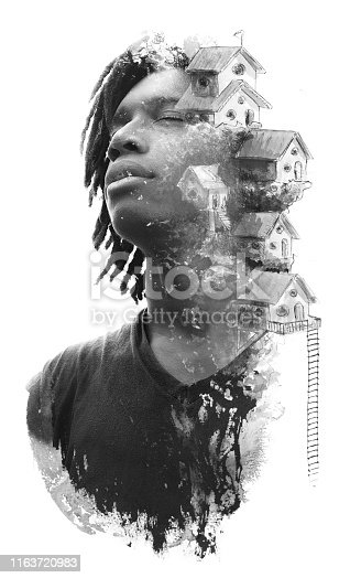 498089686 istock photo Paintography. Double exposure portrait of African man combined with hand drawn artistic surreal painting of houses in the sky, black and white 1163720983