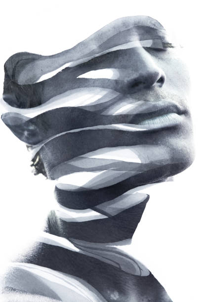 Paintography. Double Exposure portrait of an attractive man's face combined with hand drawn ink painting stock photo