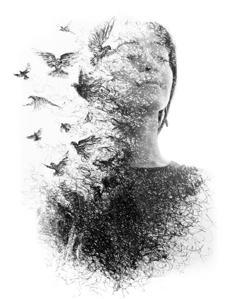 paintography. double exposure portrait of an elegant woman with closed eyes combined with hand made pencil drawing of a flock of birds flying freely resembling disintegrating particles of her being, black and white - changing form stock pictures, royalty-free photos & images