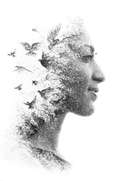 Paintography. Double Exposure portrait of an elegant woman's profile combined with hand drawn pencil drawing of a flock of birds flying into the sky, black and white stock photo