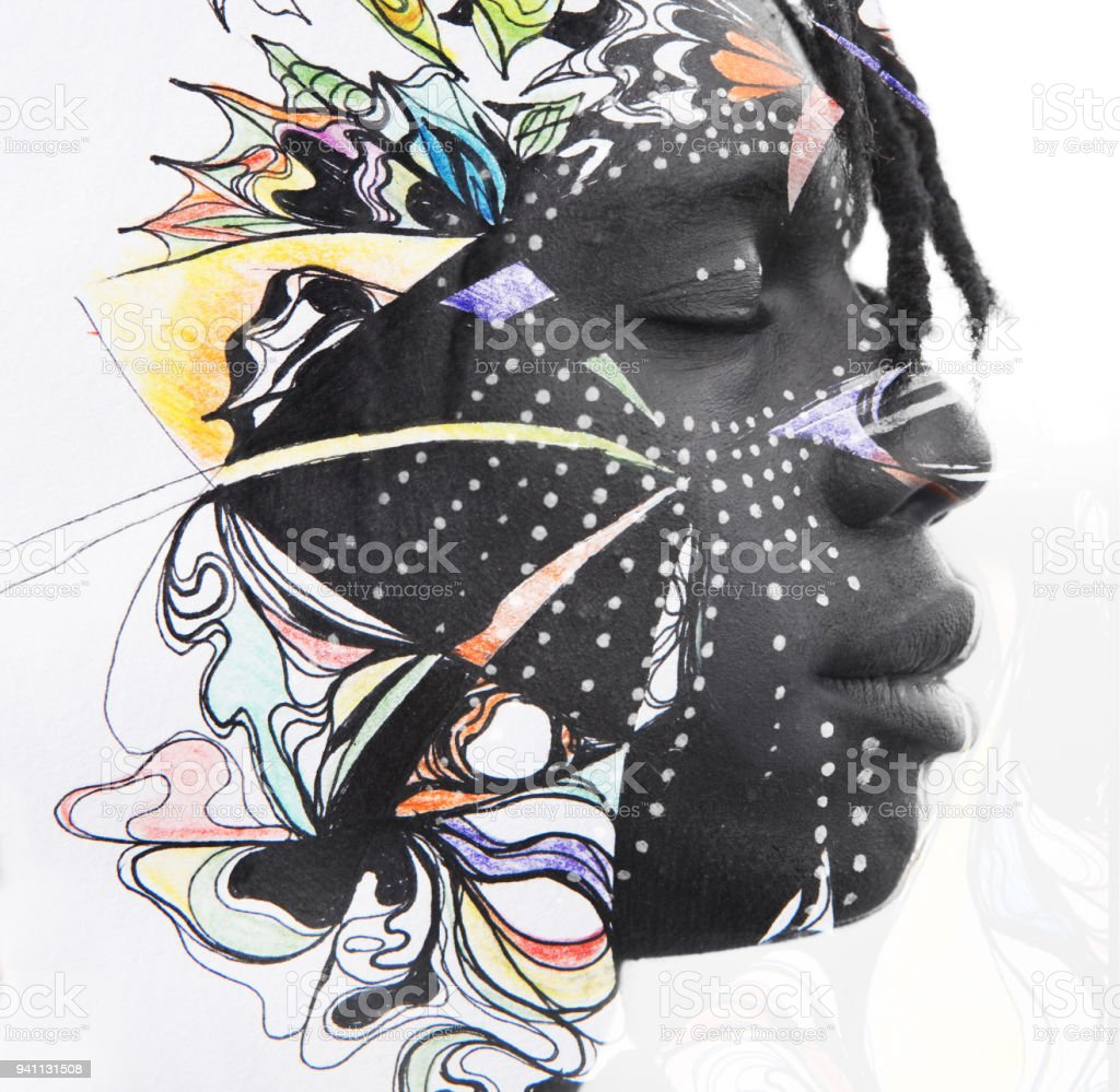 Paintography. Double exposure portrait of relaxed African man combined with art techniques and hand drawn painting with floral motif stock photo