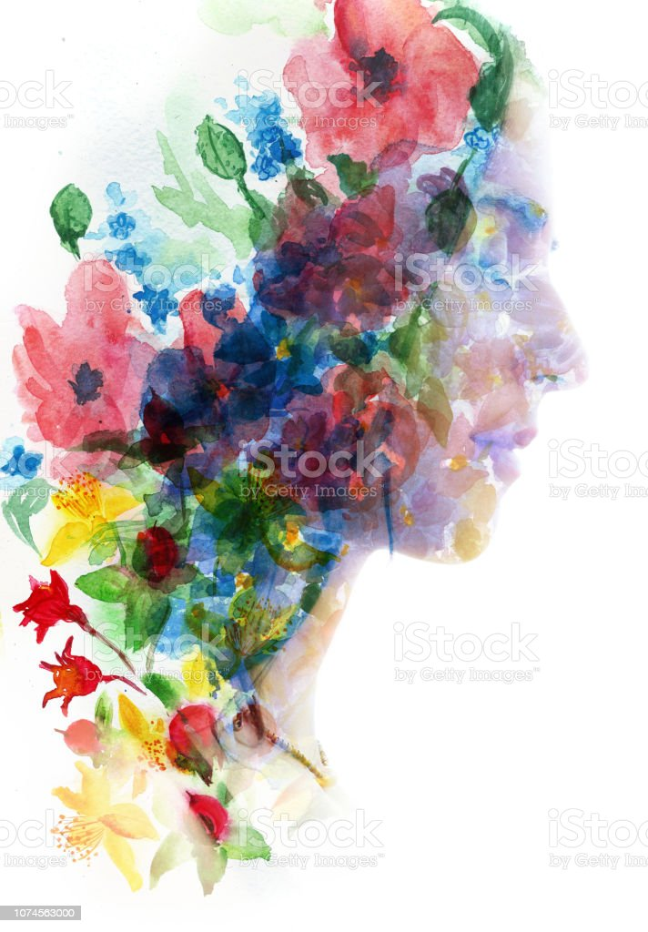 Paintography. Double exposure profile of a young natural beauty with closed eyes, her face and hair combine with hand drawn ink and watercolor painting with floral motifs stock photo