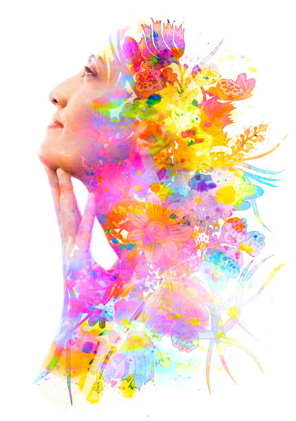 Paintography. Double exposure profile of a young natural beauty with hand on chin, relaxing and softly tilting her head back as her face and hair combine with hand drawn colorful flowers and brushstrokes stock photo