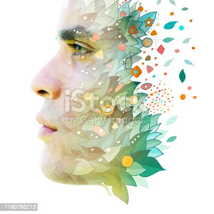 498089686 istock photo Paintography. Double exposure profile of an attractive young male combined with hand drawn shapes including leaves and colorful particles dissolving into the white background 1160765213