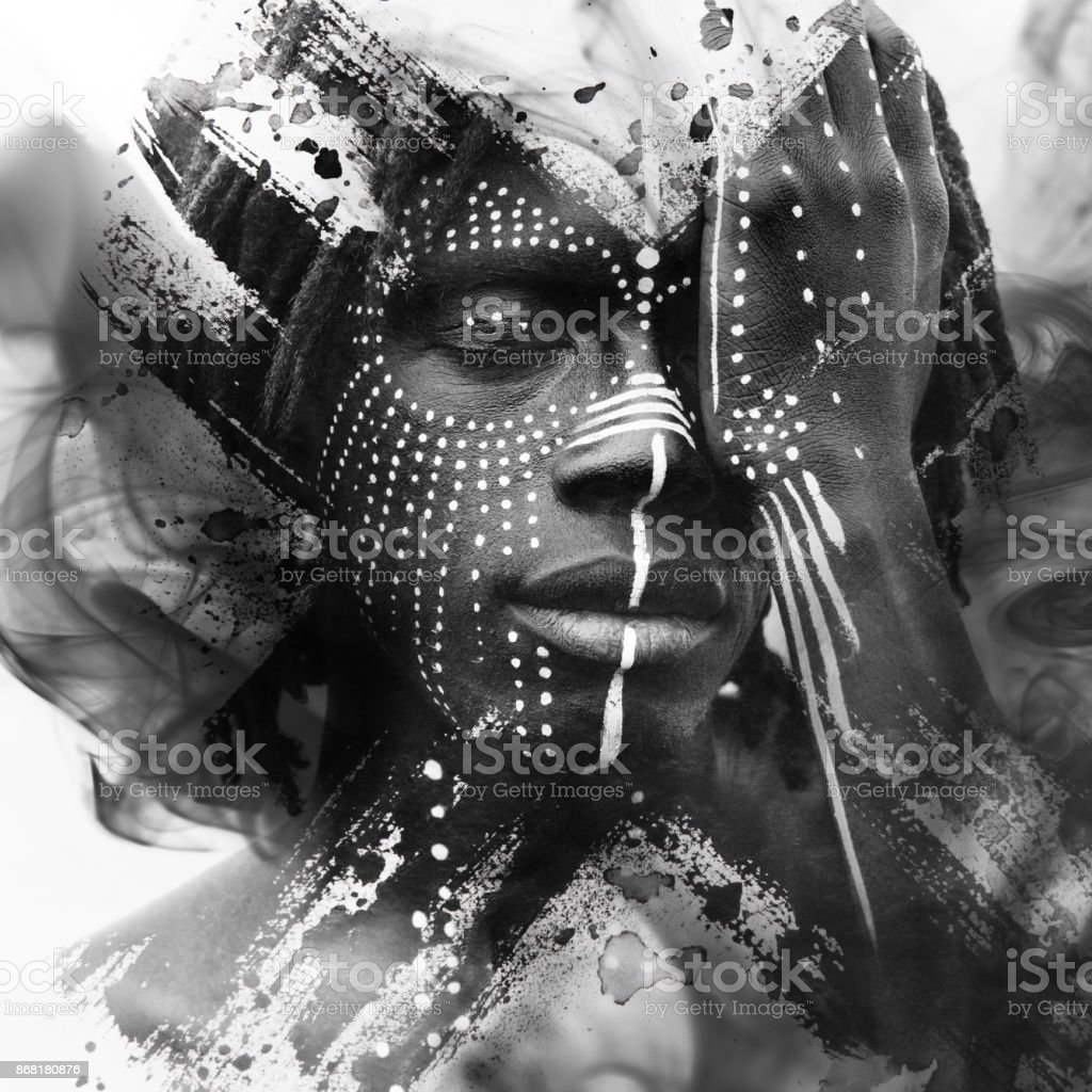 Paintography. Expressive African man combined with stunning double exposure art techniques and hand drawn paintings'n stock photo
