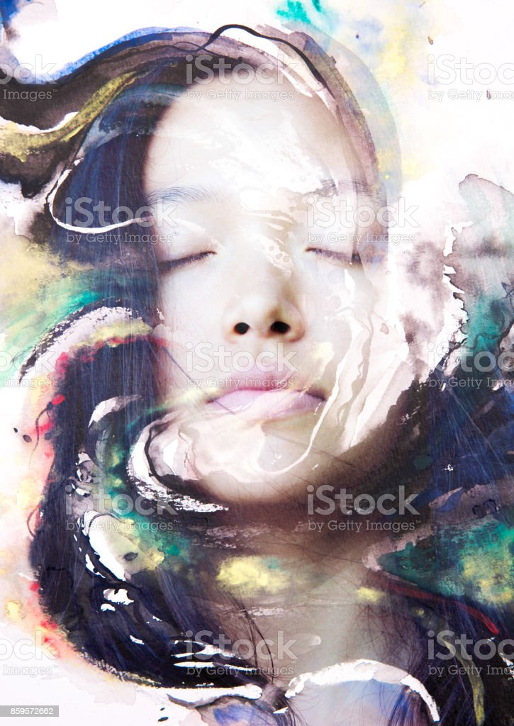 Paintography of an attractive peaceful female combined with hand drawn ink and watercolour paintings with a swirling dynamic stock photo