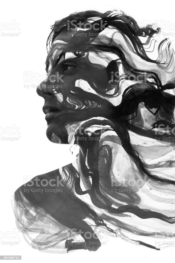Paintography of an attractive sexy model combined with hand drawn ink and watercolour paintings with a swirling dynamic stock photo