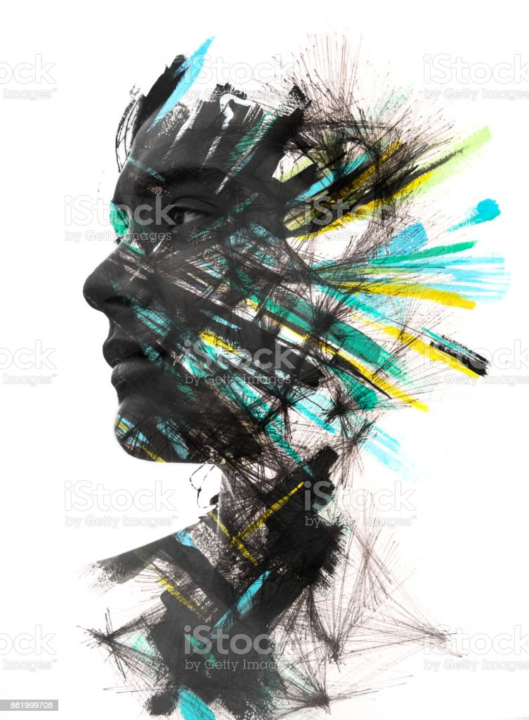 Paintography, portrait combined with painted brush strokes and drawn pattern gives a striking effect of colors and texture stock photo